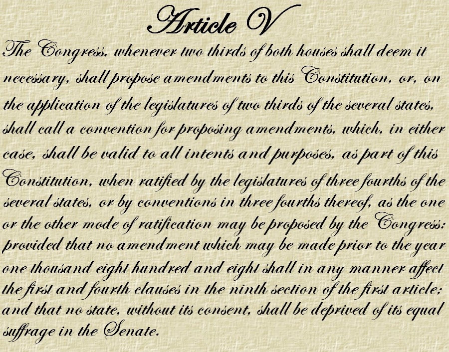 an introduction to the us constitution and the article five Article v says nothing about time limits, and elsewhere in the constitution when  the  four states had rescinded their ratifications and a fifth had declared that its   prohibiting the introduction of new bills within the last ten days of a session.