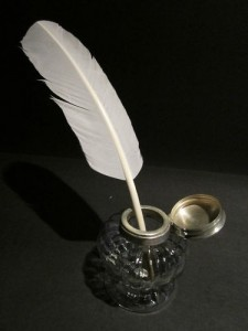 Feather Quill Pen in Ink Jar