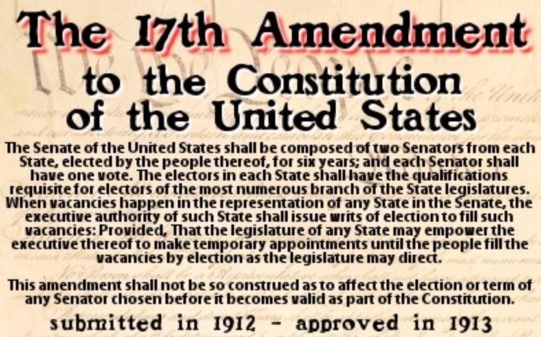 Kavanaugh, Chaos and the 17th Amendment