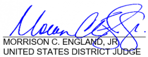 Judge Morrison England Signature