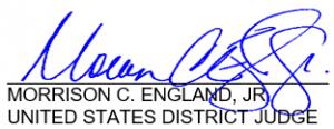 Judge Morrison England Signature